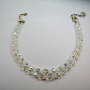 Crystal Glass Bead AB Necklace Double Strand Aurora Borealis