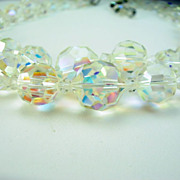 Vintage Chunky Crystal AB Necklace Double Strand