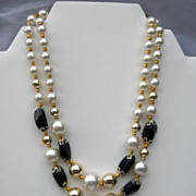Vintage Bead Necklace Japan  Classic Black White Gold tone