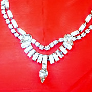 Vintage Kramer Rhinestone Tear Drop Festoon  Necklace