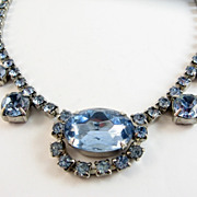 Wonderful Blue Rhinestone Necklace Large Stones Unsigned