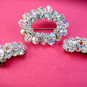 Vintage Crystal AB Brooch Climber Earrings Set
