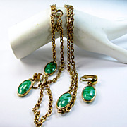 Emmons Necklace Earrings Set Green Marbled