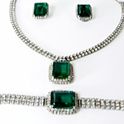 Emerald Glass Rhinestone Parure Set Necklace Bracelet Earrings