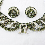 Vintage Weiss Black Diamonds Demi Parure Smoke Gray Set