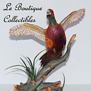 Franklin Mint Ring-Necked Pheasant Fine Porcelain Sculpture Mint