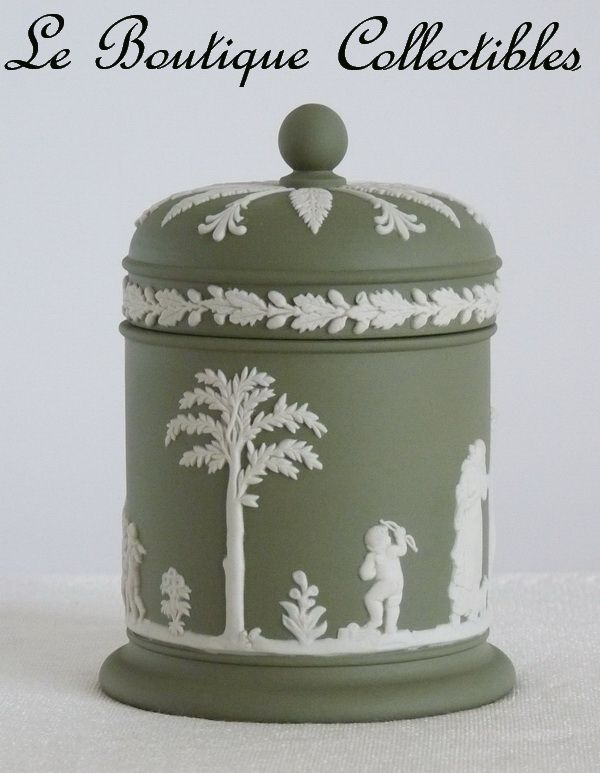 Wedgwood Jasperware Tobacco Jar Sage Green Vintage Mint
