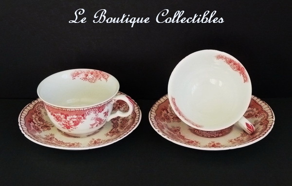 John Maddock Tea & Saucer Royal Vitreous Bombay England Red Antique Set of Two