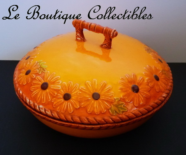 Eclectic Porcelain 9&quot; Round Two Tone Orange Tureen with Daisy and Leaf