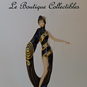 SOLD Mint ERTE Pearls and Emeralds Limited Edition Porcelain Figurine by Franklin Mint