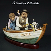 Lladro Fishing with Gramps 2351 Rare Gres Finish in Mint Condition
