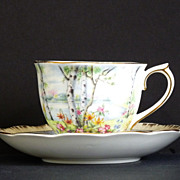 SALE Vintage Royal Albert Bone China Silver Birch Tea Cup & Saucer