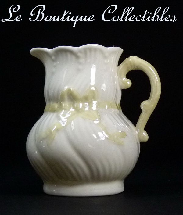 Belleek Ribbon Pattern Porcelain Creamer Mint