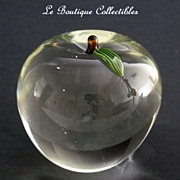 Orient and Flume Art Glass Clear Apple Paperweight