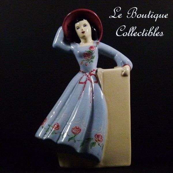 Weil Ware Woman in Blue Dress Vase Figurine California Pottery Mint