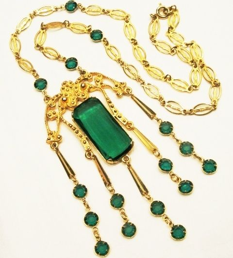 Rare Huge Green Crystal Etruscan Vintage Pendant Necklace