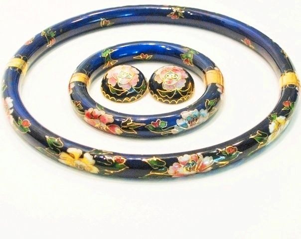 Vintage Cloisonne Enamel Old Chinese Choker Necklace Bracelet Earrings Grand Parure Set