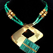 Huge Malachite Signed Florelle Vintage Modernist Statement Pendant Necklace