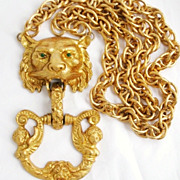 Massive Pauline Rader Lion Doorknocker Vintage Pendant Statement Necklace