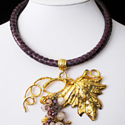 Designer Signed Amethyst Snake Skin Gemstone Vintage Estate Necklace