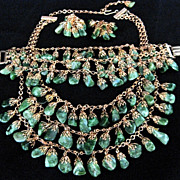Rare JADE Stone Vintage Necklace Bracelet Earrings Grand Parure Set