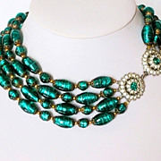 Vintage Venetian Foil Glass Crystal Multi-Strand Necklace