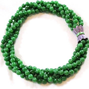 Heavy Green Glass Vintage 4 Strand Torsadale Necklace Enamel Decorative Clasp