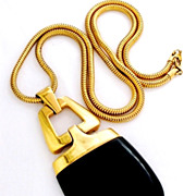 TRIFARI Rare Huge Oblong Black Lucite Modernist Vintage Pendant Necklace