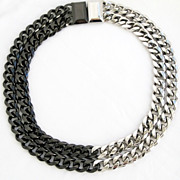 PIERRE CARDIN Vintage Modernist Chunky Chains Rockstar Runway Necklace