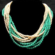 Vintage 8 STRAND Green Glass Simulated Pearl 1950's Necklace