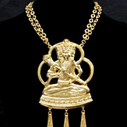 Rare JULES VAN ROUGE Massive Vintage Egyptian Pendant Necklace