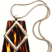 Huge Vintage Tortoise Lucite Modernist 1970's Pendant Necklace