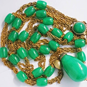 Rare SET OF 2 Vintage Green Lucite Modernist 1970's Pendant Necklaces