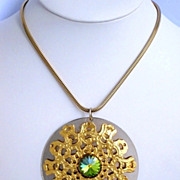 Vintage Modernist Crystal Ornate 1970's Pendant Necklace