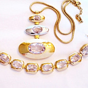 Vintage Crystal Modernist Pendant Necklace & Bracelet Set