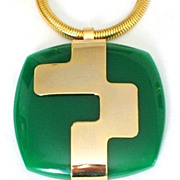 Huge LANVIN Paris Lucite Modernist Pendant Runway Necklace