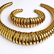 Vintage Space Age Spiral Modernist Necklace & Bracelet Set
