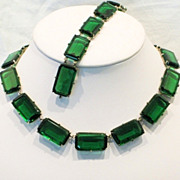 Art Deco Rare Crystal Chiclet Vintage Necklace & Bracelet Set