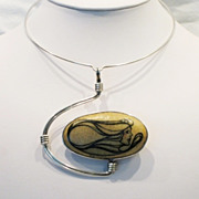 Vintage 1976 Signed Artist Original Silver-Plated Modernist Choker Pendant Necklace