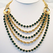 STUNNING Napier Green Crystal Multistrand Vintage Modernist Statement Necklace