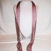 "Showstopping Crystal 70"" XL 6 Strands Huge Tassels Vintage Necklace"