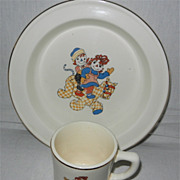 1941 Raggedy Ann & Andy Crooksville Pottery Dish Set