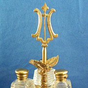 European Three Bottle Perfume in Holder Circa 1900
