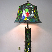 SOLD Tiffany Style Large Artist Signed Floor Lamp 300 Pounds