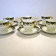 Vintage Limoges Demitasse Cups and Saucers set of 6