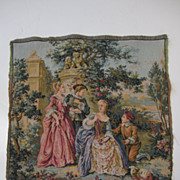 "Vintage Fine Hand Made Needlepoint French Design Tapestry 19""x19"""