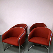 SOLD Set of Four 4 Mid Century Modern Chrome & Upholstered Curved Chairs Crimson Red Fabric