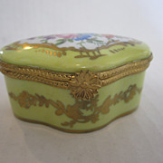 Limoges Box Yellow with Bouquet Lid