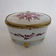 Limoges Oval White Box on Gold Feet