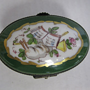Limoges Oval Green Box with Floral Lid